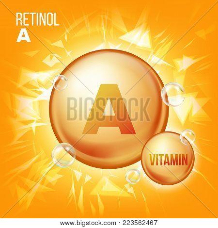 Vitamin A Retinol Vector. Vitamin Gold Oil Pill Icon. Organic Vitamin Gold Pill Icon. Capsule. For Beauty, Cosmetic, Heath Promo Ads Design. Chemical Formula. Illustration