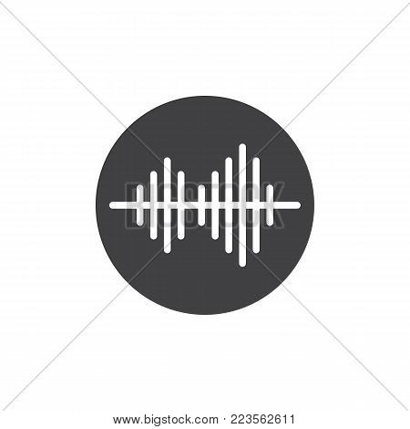 Soundwave icon vector, filled flat sign, solid pictogram isolated on white. Audio sound wave symbol, logo illustration.