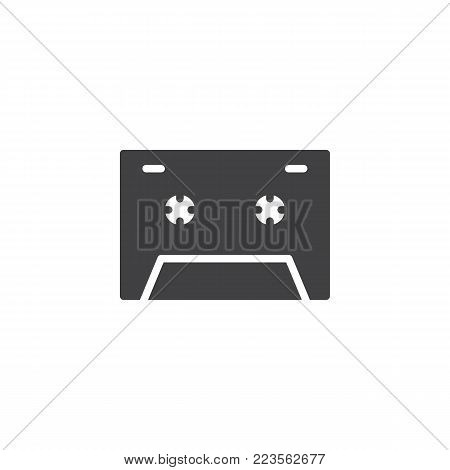 Cassette tape icon vector, filled flat sign, solid pictogram isolated on white. Audio cassette symbol, logo illustration.