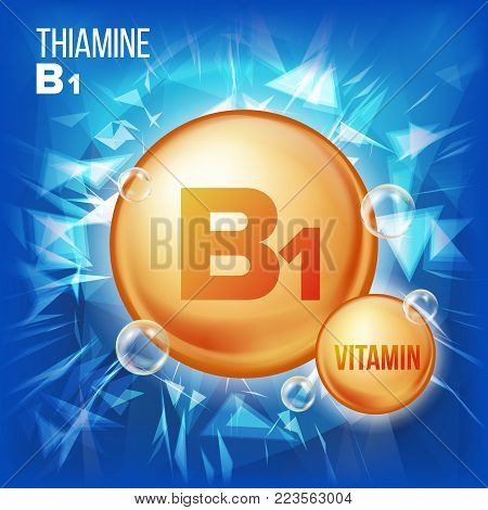 Vitamin B1 Thiamine Vector. Vitamin Gold Oil Pill Icon. Organic Vitamin Gold Pill Icon. For Beauty, Cosmetic, Heath Promo Ads Design. 3D Vitamin Complex Illustration