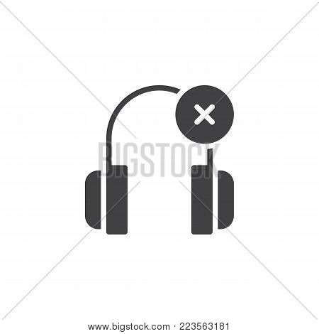 Headphones delete icon vector, filled flat sign, solid pictogram isolated on white. Symbol, logo illustration.