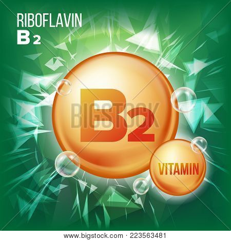 Vitamin B2 Riboflavin Vector. Vitamin Gold Oil Pill Icon. Vitamin Gold Pill Icon. Medicine Capsule. For Beauty, Cosmetic, Heath Promo Ads Design. 3D Vitamin Complex Chemical Formula. Illustration