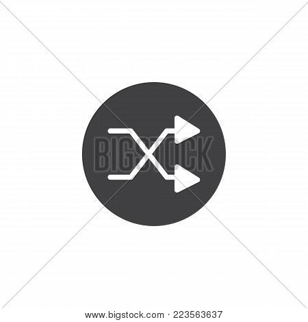 Shuffle button icon vector, filled flat sign, solid pictogram isolated on white. Crossed arrows couple symbol, logo illustration.