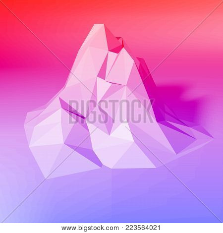 Gradient abstract low-poly, polygonal triangular mosaic elevation background for web, presentations and prints. Vector illustration. Realistic 3D render design template.