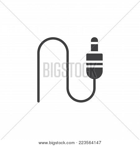 Jack connector icon vector, filled flat sign, solid pictogram isolated on white. Wired audio jack symbol, logo illustration.