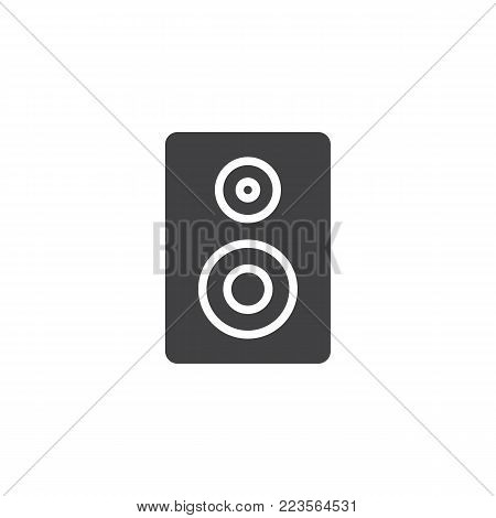 Acoustic speaker icon vector, filled flat sign, solid pictogram isolated on white. Loudspeaker stereo system symbol, logo illustration.