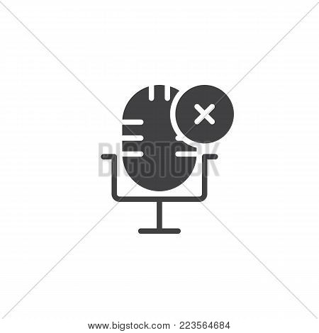Delete record icon vector, filled flat sign, solid pictogram isolated on white. Microphone with cross symbol, logo illustration.