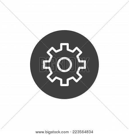 Setting circular button icon vector, filled flat sign, solid pictogram isolated on white. Gear, settings circular symbol, logo illustration.