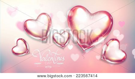 Happy Valentine's Day Soft Background with Flying Glossy and Shining Hearts, Blur Background and Bokeh Effect.