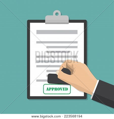 Hand stamping. Notary approving a documents. Vector illustration in flat style