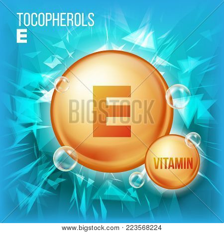 Vitamin E Tocopherols Vector. Vitamin Gold Oil Pill Icon. Organic Vitamin Gold Pill Icon. Medicine Capsule. For Beauty, Cosmetic, Heath Promo Ads Design. Complex. Illustration