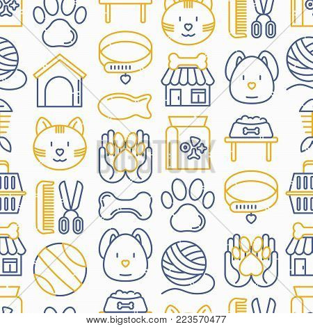 Pet shop seamless pattern with thin line icons: cat, dog, collar, kennel, grooming, food, toys. Modern vector illustration.