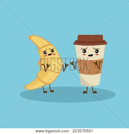 Vector illustration of cartoon croissant and coffee with on blue background. Hey bro. Character croissant and coffee pointing on each other with index fingers.