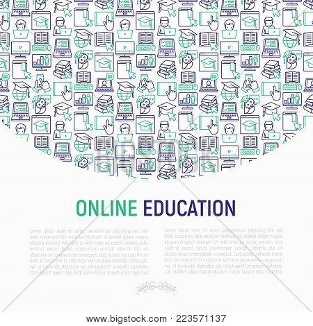 Online education concept with thin line icons: online course, webinar, e-book, video conference, home studying, wise owl in graduation cup. Modern vector illustration for school web page.