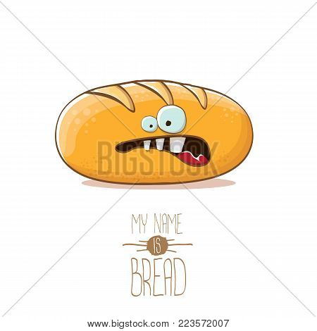 vector funky cartoon cute white loaf of bread character isolated on white background. My name is bread concept illustration. funky food bakery character with eyes and mouth