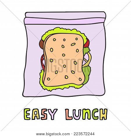 Sandwich with bacon, tomato, cheese and salad in a lunch box. Easy lunch vector illustration. Hand drawn sketch