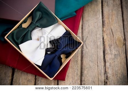 Collection Elegant Bow Ties Of Various Colors In Box, Fashionable Accessory For Man
