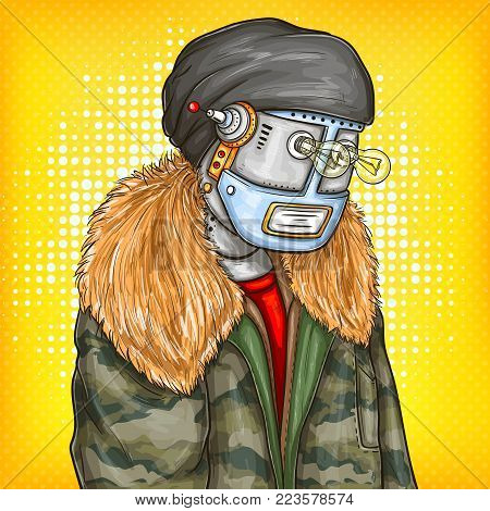 Vector pop art illustration of robot, android in fashion jacket, modern clothing with light bulbs instead of eyes. Artificial intelligence, steampunk, cyborg concept. Promotion, advertisement design