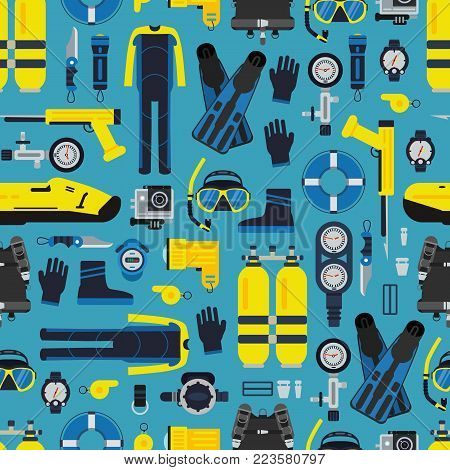 Vector underwater diving equipment pattern or background in flat style illustration