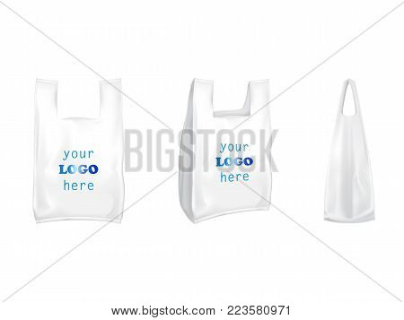 Plastic T-shirt shopping bags vector isolated realistic white blank templates for branding. 3D illustration of T-shirt plastic shop packaging model mockup with handles front and side view