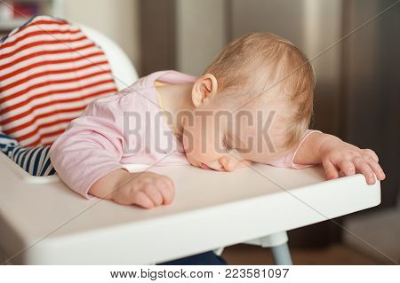 Tired child sleeping in highchair after the lunch. Cute baby girl over eating and fall asleep just after feeding, lying his face on the table tray
