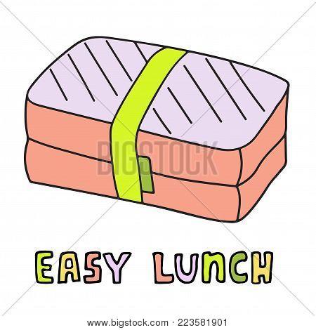 Cartoon lunch box. Hand drawn food pack. Vector sketch illustration.