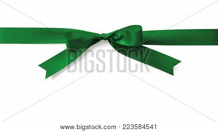 Green Satin Bow Ribbon Emerald Kelly Jade Christmas Color Stripe Fabric Bow Isolated On White Backgr