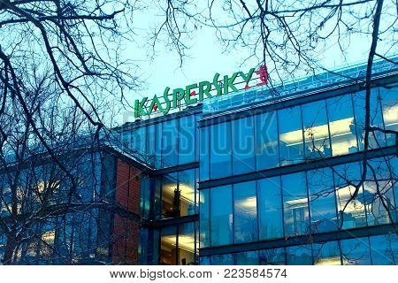 Moscow, Russia - January 23, 2018: The sign Kaspersky Lab on the building of the Central office of Kaspersky Lab in Moscow. Headquarter of Kaspersky lab, one of the worlds fastest-growing cybersecurity companies