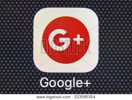 Sankt-Petersburg, Russia, January 25, 2018: Google plus application icon on Apple iPhone 8 smartphone screen close-up. Google plus app icon. Google+. Macro shot