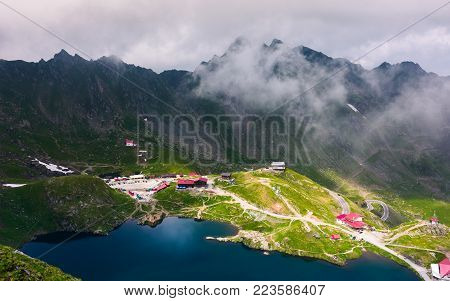 lake Balea in Fagarasan mountains, Romania. beautiful place in mountains. one of the most visited tourist attraction