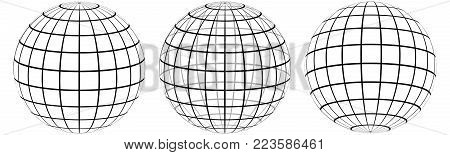 Set graticule 3d globe Meridian and parallel , the field lines on the surface Meridian and parallel, vector wire template graticule