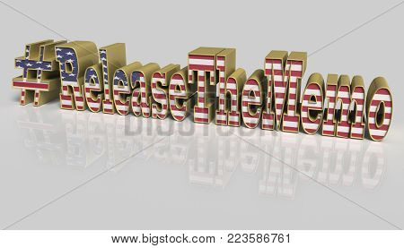 3D Illustration. Hash tag Release the memo covered with the American flag