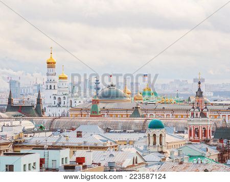 MOSCOW, RUSSIA - January 07, 2018. Aerial view on historic center of Moscow from Central Children Store. View on Zaikonospassky monastery, Main Department store, Belltower of Ivan the Great, Kremlin, other landmarks.