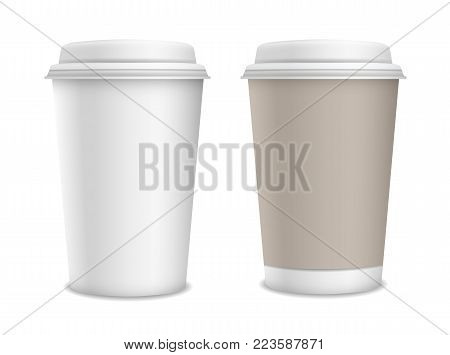 Set of two realistic vector blank paper take away cups isolated on white background