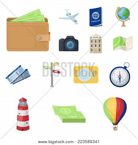 Rest and travel cartoon icons in set collection for design. Transport, tourism vector symbol stock  illustration.