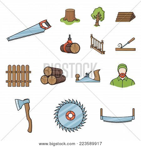 Sawmill and Timber cartoon icons in set collection for design. Hardware and Tools vector symbol stock  illustration.