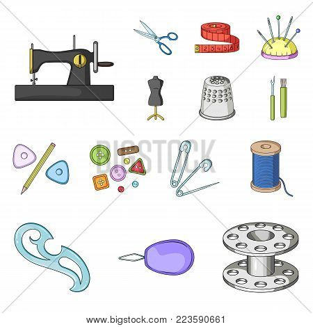 Sewing, atelier cartoon icons in set collection for design. Tool kit vector symbol stock  illustration.