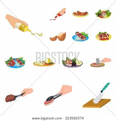 Cooking food cartoon icons in set collection for design. Kitchen, equipment and tools vector symbol stock  illustration.