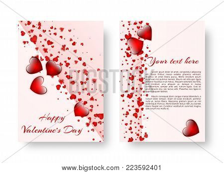 Template of a design of a card with falling red hearts for design of congratulations on Valentine's day, mother's day or birthday. Vector illustration