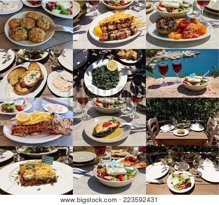 Collage of different meat and vegetables dishes of delicious greek cuisine, tasty greek summer holidays concept. Daylight.