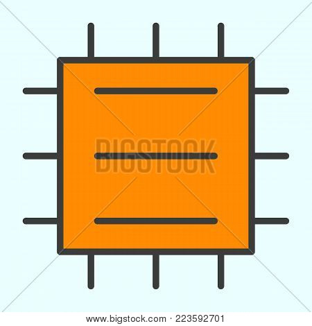 Central Processor Unit Line Icon. CPU 96x96 for Web Graphics and Apps.  Chip Simple Minimal Pictogram. Vector