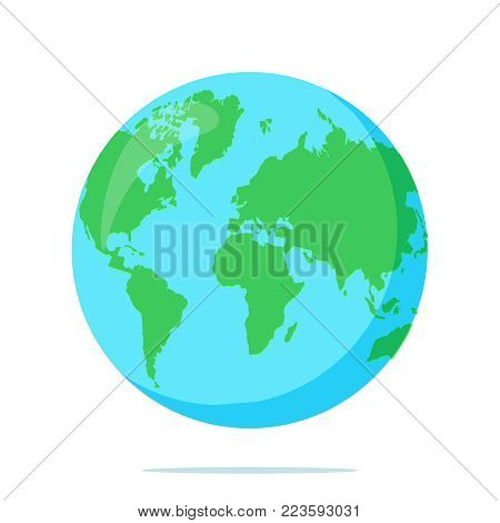 Earth globe isolated on white background. Flat planet icon. Vector illustration. World map design. Geographic educational element with continents and ocean, simple world concept