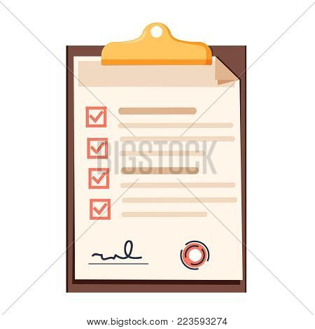 Clipboard with red ticks checkmarks. Checklist, complete tasks, to-do list or exam survey concepts. Modern flat design graphic Vector illustration. Cheklist clipboard isolated icon.