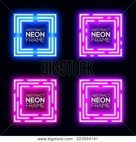 Neon light square banners set. Shining rectangle techno frame collection. Night club electric 3d banner on dark backdrop. Blue violet neon abstract background with glow. Technology vector illustration