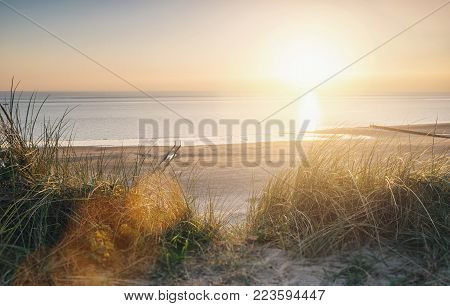 View to the beach at a summer sunset. ideal for websites and magazines layouts