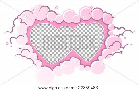 Romantic pink  frame hearts template. Vector illustration for love holiday design. Empty hearts for photo insert on transparent background. Wedding card, valentine's day greetings, lovely frame.