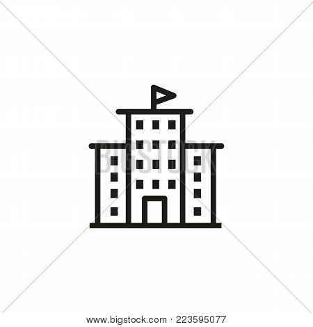 Icon of building with flag on top. University, library, government. Building concept. Can be used for topics like architecture, government, real estate.