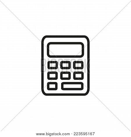 Icon of calculator. Modern technology, device, office tool. Finance concept. Can be used for topics like mathematics, finance, economy.