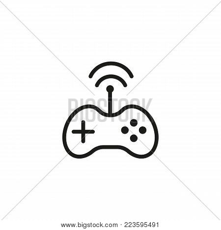 Icon of game controller. Joystick wireless connection, gamepad. Wireless technology concept. Can be used for topics like modern technology, hardware, gaming.
