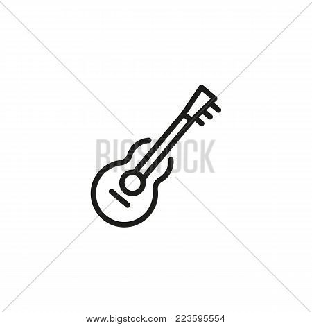 Icon of guitar. Tool, hobby, music. Creativity concept. Can be used for topics like education, activity, rock music.